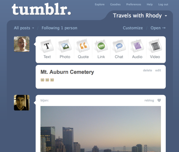 Tumblr Dashboard, featuring reblogging features at the top, blogs you follow below